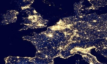 """""""Europa bei Nacht"""" Quelle: NASA"""